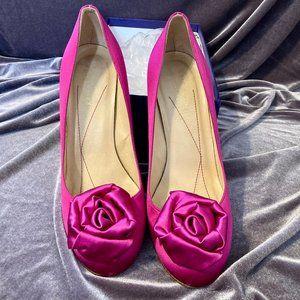 Kate Spade Satin Fuschia Flower Heels